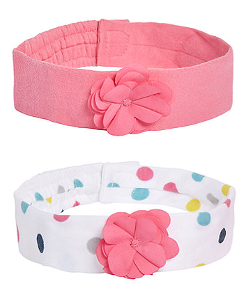Mothercare Polka Dot And Corsage Hairbands - 2 Pack