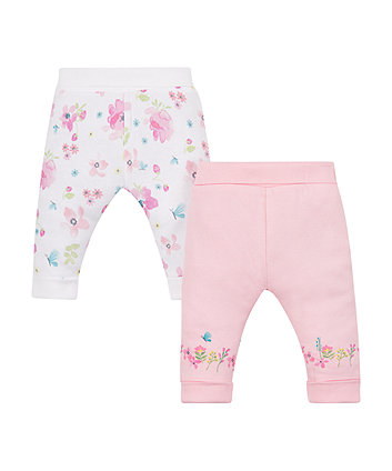 Pink And White Floral Joggers - 2 Pack