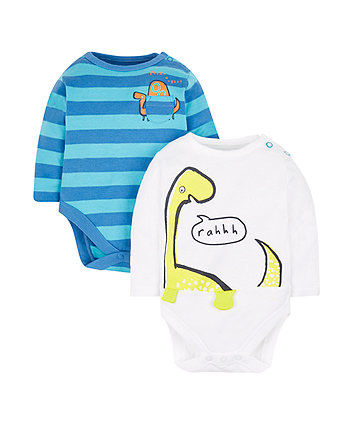 striped dinosaur bodysuits - 2 pack