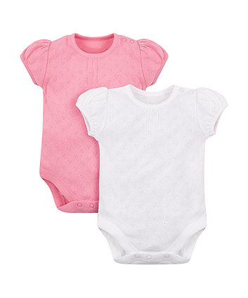 Mothercare Pink And White Pointelle Bodysuits - 2 Pack