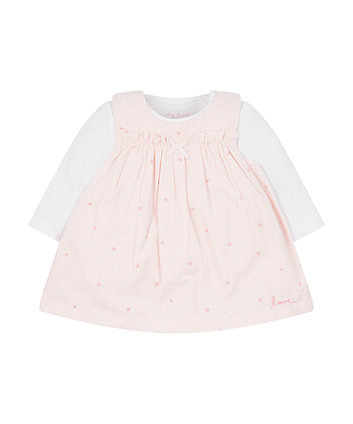 My First Cord Pinny Dress And Bodysuit Set