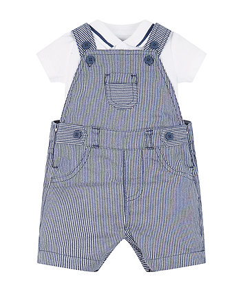 Stripe Dungarees And Bodysuit Set