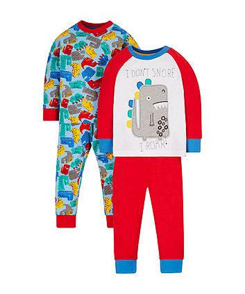 Mothercare Multi-Coloured Dinosaur Pyjamas - 2 Pack