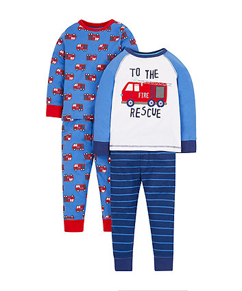 fire engine pyjamas - 2 pack