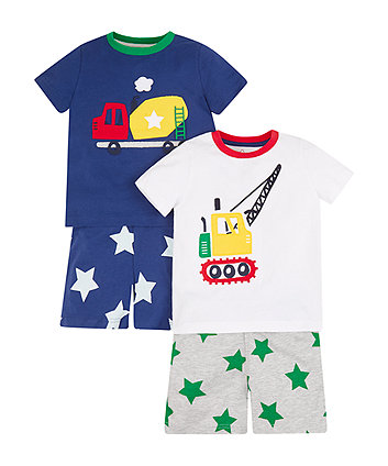 Construction Vehicle Shortie Pyjamas - 2 Pack