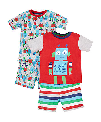 Robot Shortie Pyjamas - 2 Pack