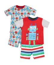 Mothercare Robot Shortie Pyjamas - 2 Pack