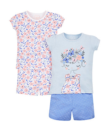 Mothercare Blue Floral Shortie Pyjamas - 2 Pack