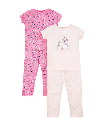 Butterfly And Floral Pyjamas - 2 Pack