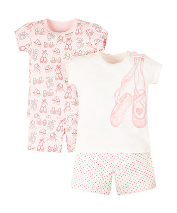 Mothercare Ballet Shoes Shortie Pyjamas - 2 Pack