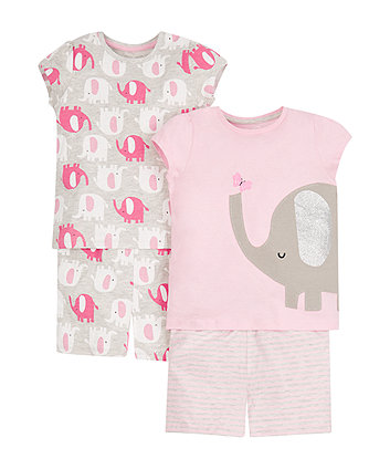 elephant shortie pyjamas - 2 pack