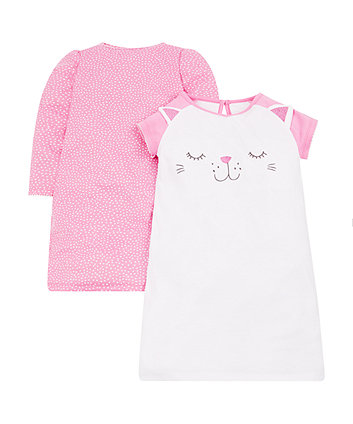 Mothercare Cat And Spot Nighties - 2 Pack