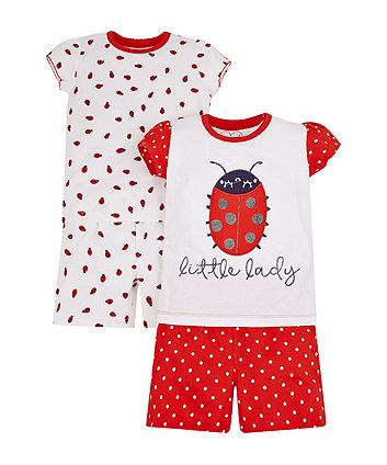 Mothercare Ladybird Shortie Pyjamas - 2 Pack