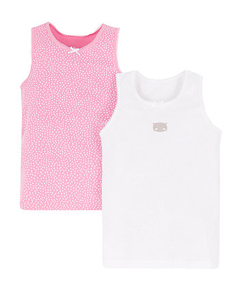 Pink Spot And Cat Vests - 2 Pack