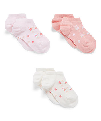 Mothercare Pink Ribbed Trainer Socks - 3 Packs
