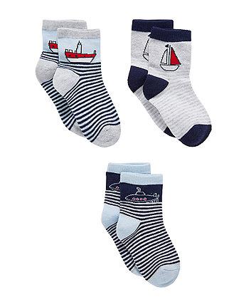 Striped Mariner Socks - 3 Pack