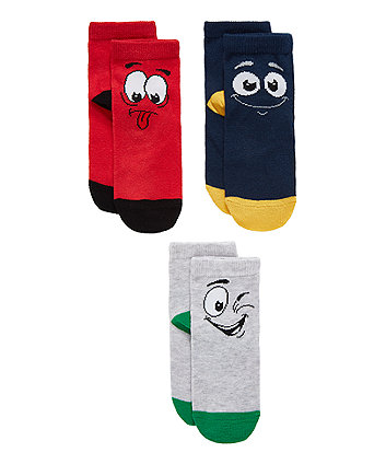 Silly Faces Socks - 3 Pack