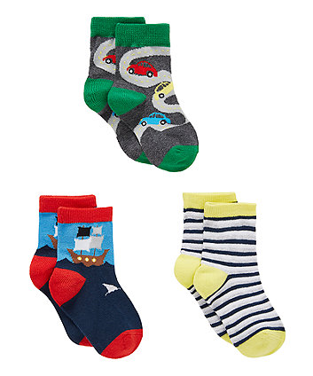 Mothercare Vehicle Socks - 3 Pack