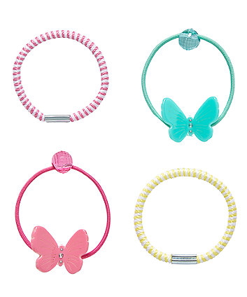 Bright Butterfly Hair Ties - 4 Pack