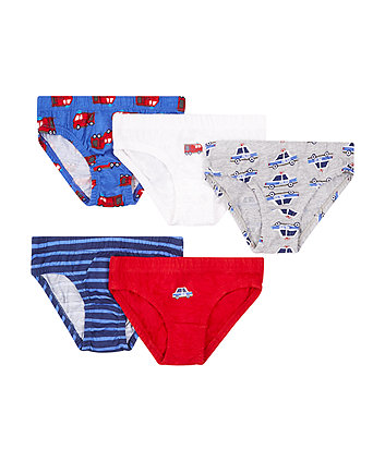 Police Car And Fire Engine Briefs - 5 Pack