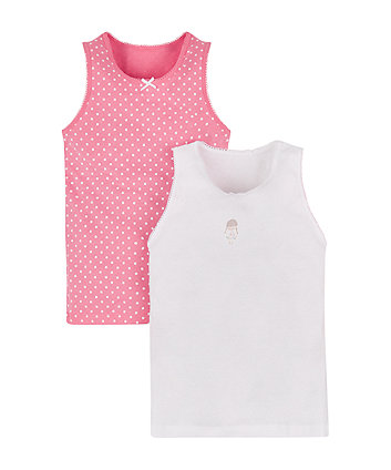 Pink Spot And Pretty Girl Vests - 2 Pack