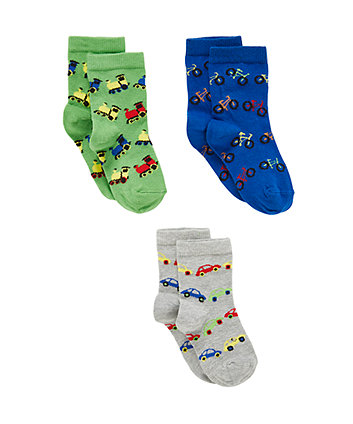 Mothercare Car, Bike And Train Socks - 3 Pack