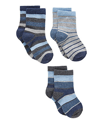 Mothercare Marl Striped Socks - 3 Pack