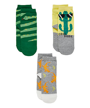 Mothercare Colourful Cactus Socks - 3 Pack
