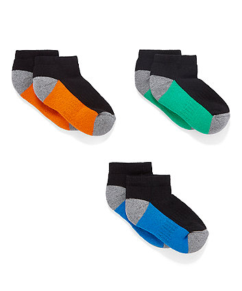 Mothercare Coloured Sole Trainer Socks - 3 Pack