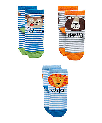Mothercare Cheeky Animal Socks - 3 Pack