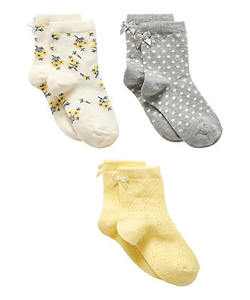 Yellow Floral Socks - 3 Pack