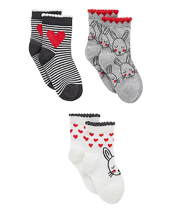 bunny and heart socks - 3 pack