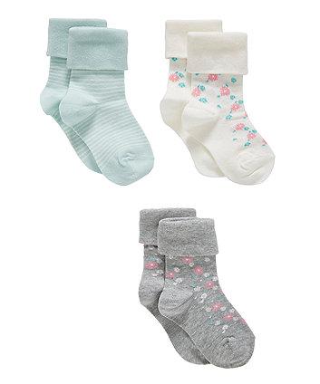 Mothercare Floral Socks - 3 Pack
