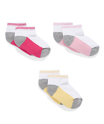 Mothercare Contrast Sole Trainer Socks - 3 Pack