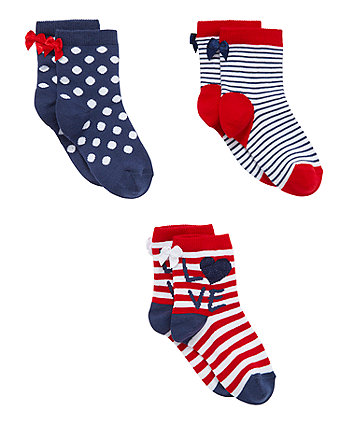 Mothercare Nautical Stripe Socks - 3 Pack