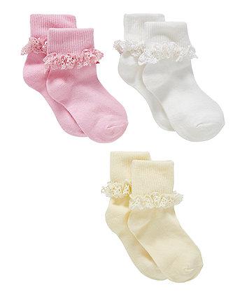 pastel lace socks - 3 pack