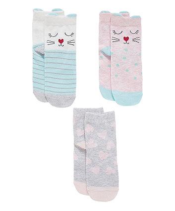 Mothercare Novelty Cat Socks - 3 Pack