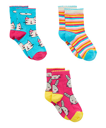 Mothercare Bunny And Cats Socks - 3 Pack