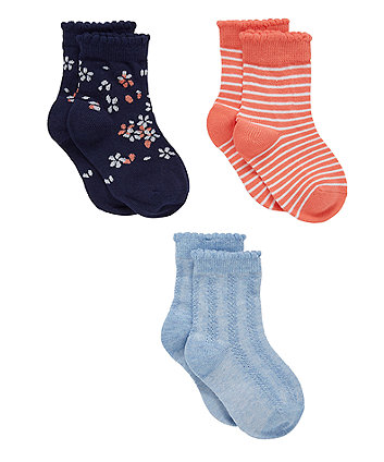 navy and coral floral socks - 3 pack