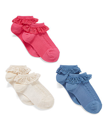 Pink, Cream And Blue Lace Trainer Socks - 3 Pack