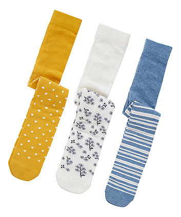 spots, stripes and floral tights - 3 pack