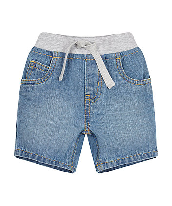 Mothercare Light Wash Ribwaist Denim Shorts