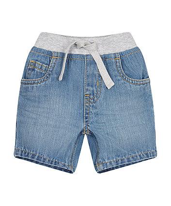 light wash ribwaist denim shorts
