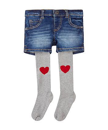 Mothercare Denim Shorts And Tights Set