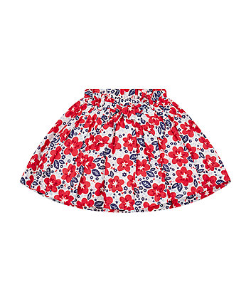 Red And Blue Floral Skirt