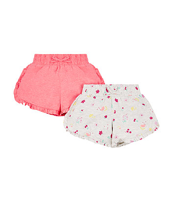 Pink And Floral Jersey Shorts - 2 Pack