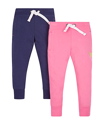 Mothercare Navy And Pink Joggers - 2 Pack