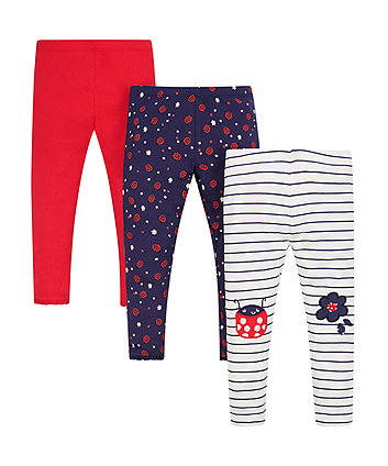 Mothercare Patterned Leggings - 3 Pack