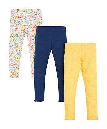 Mothercare Spotty And Floral Leggings - 3 Pack
