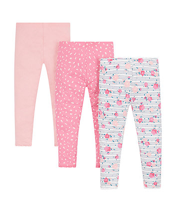 Mothercare Pink Floral Leggings - 3 Pack